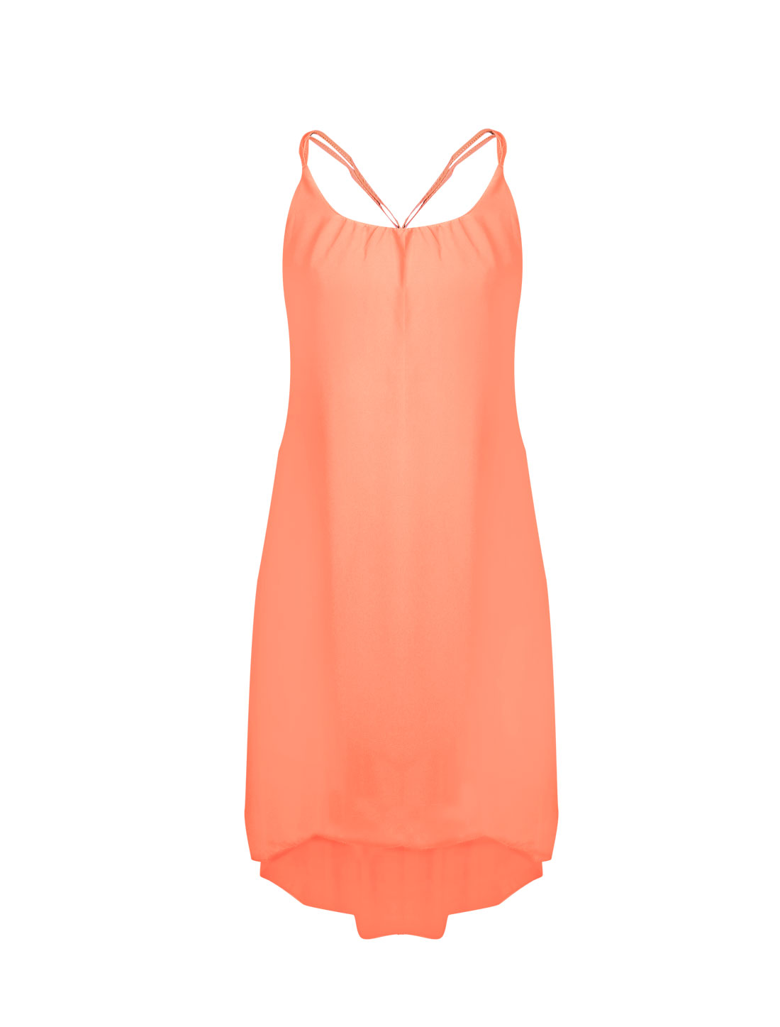 Women Sleeveless Strappy Cami Back Full Lined Chiffon Dress Salmon S