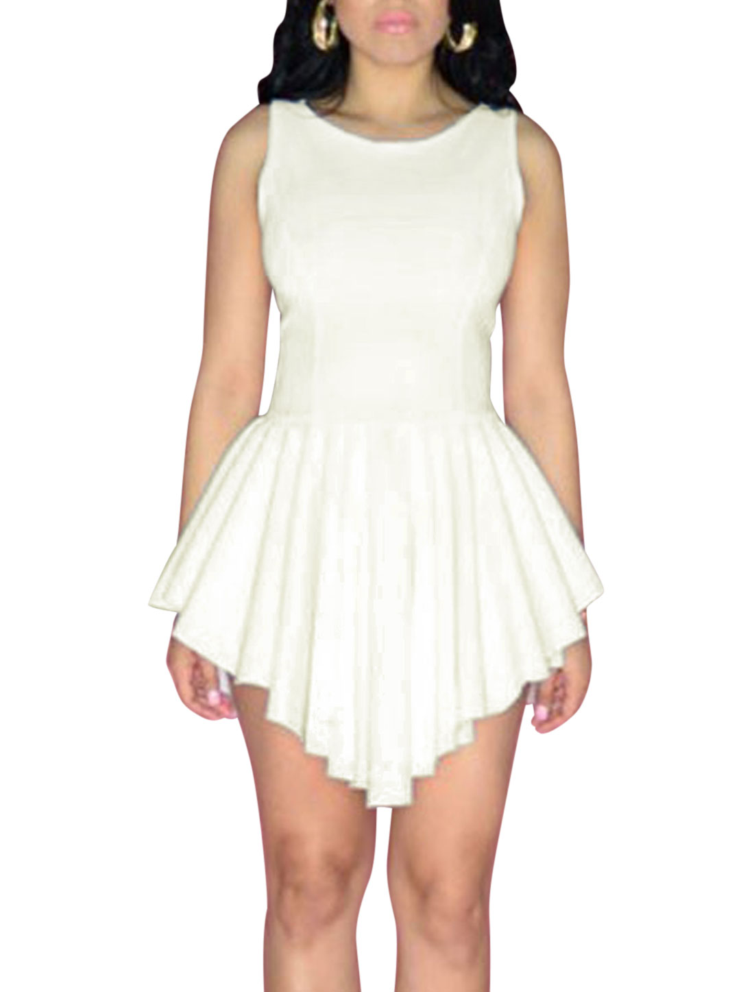 Women Round Neck Sleeveless Pleated Slipover Sexy Chiffon Dress White L