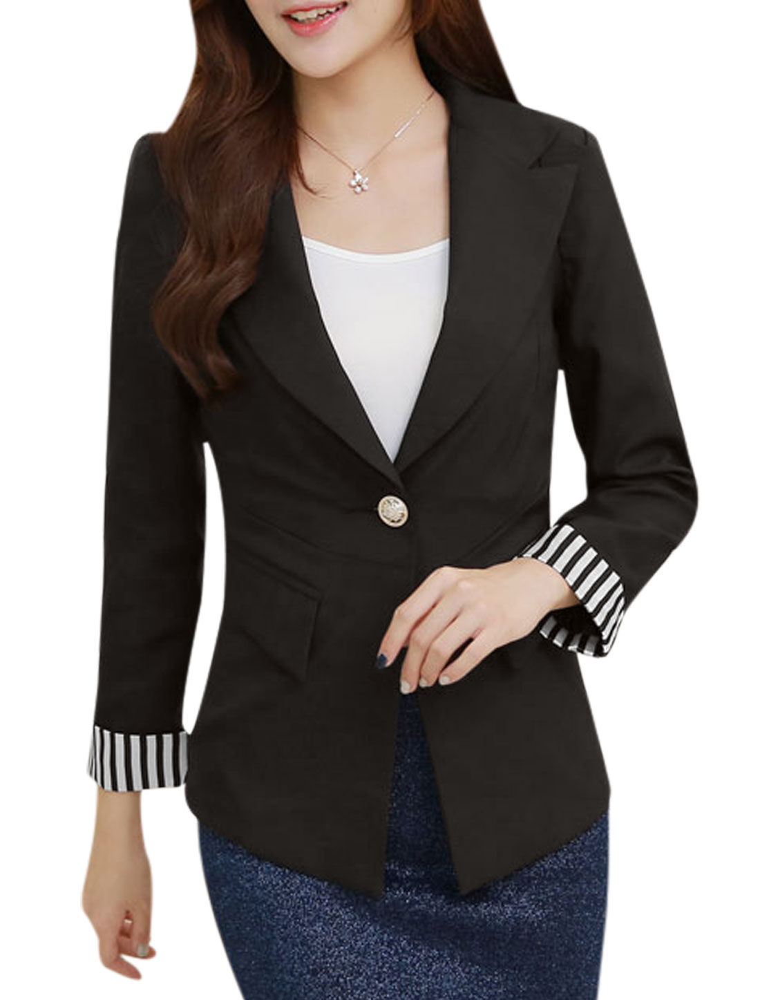 Women Notched Lapel Long Sleeve One Button Blazer Jacket Black L