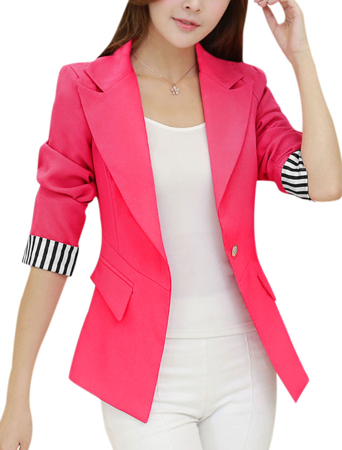 Ladies Button Closed Long Sleeves Slim Fuchsia Blazer Jacket L