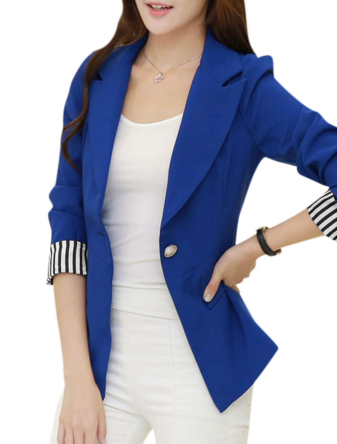 One Button Front Notched Lapel Dark Blue Blazer Jacket for Lady L