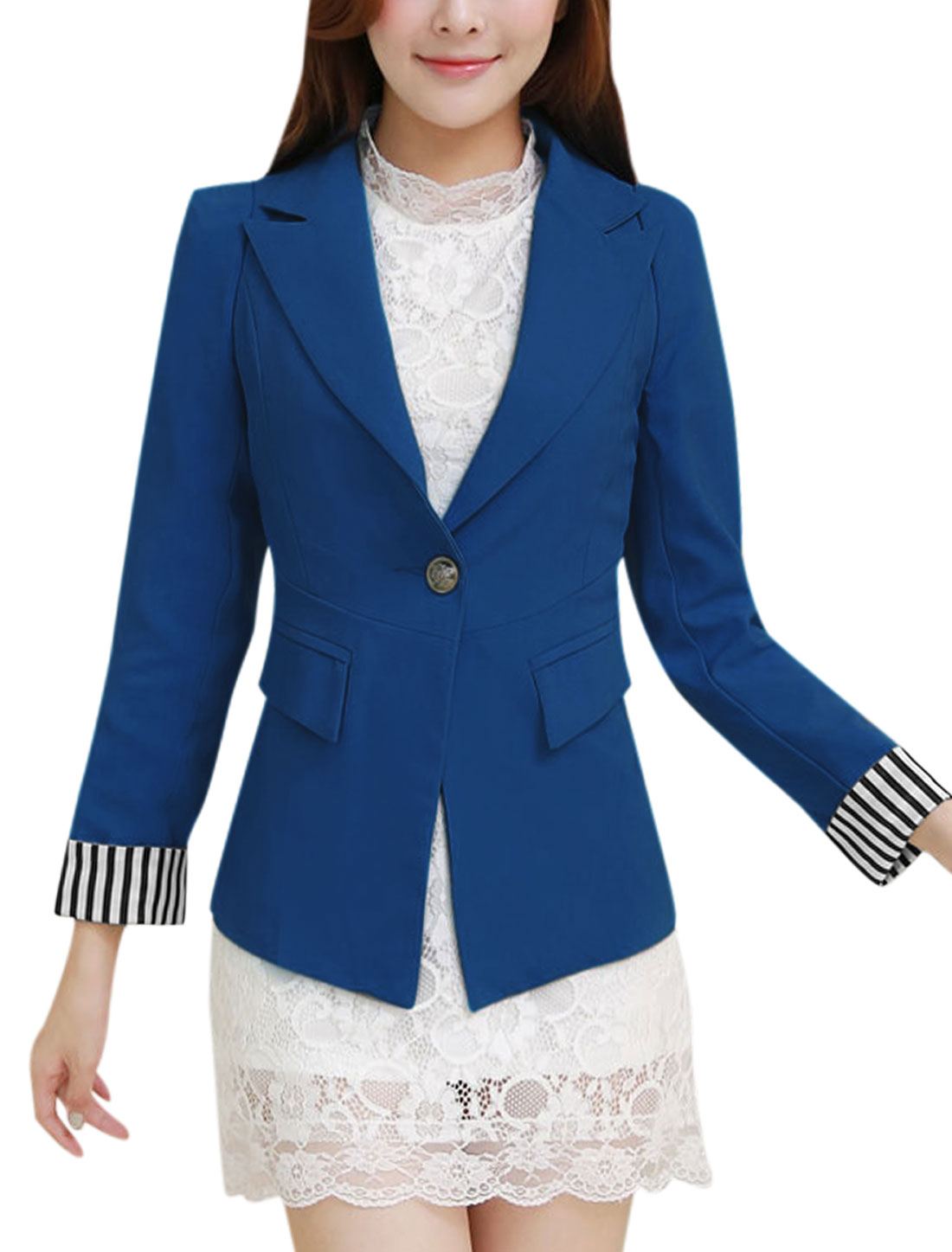 Button Closed Roll-up Cuffs Slim Fit Blue Blazer Jacket for Women L