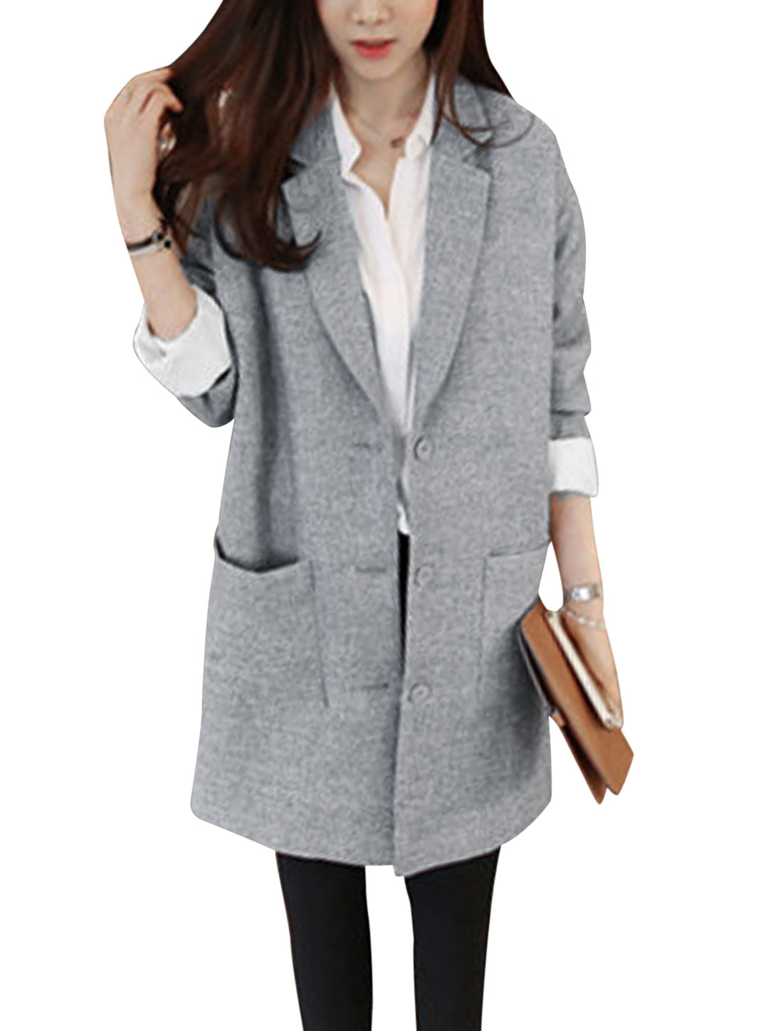 Ladies Gray Single Breasted Notched Lapel Front Pockets Long Jacket M