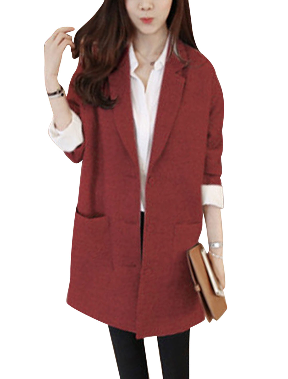 Ladies Burgundy Single Breasted Long Sleeves Front Pockets Long Jacket M