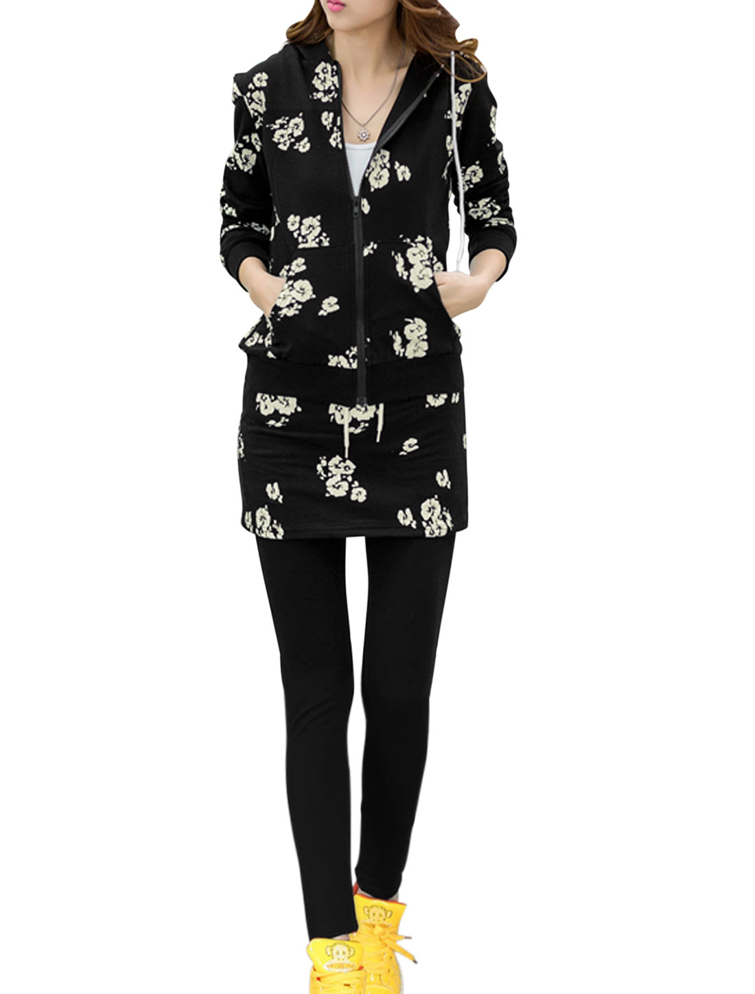 Women Floral Prints Hooded Jacket w Elastic Waist Casual Skirt Leggings Black XS