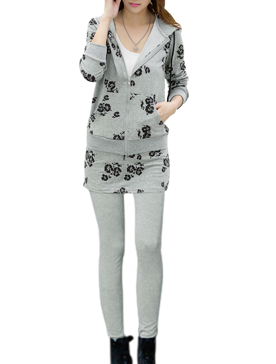 Lady Flower Prints Hooded Jacket w Stretchy Skirt Leggings Sets Light Gray XS