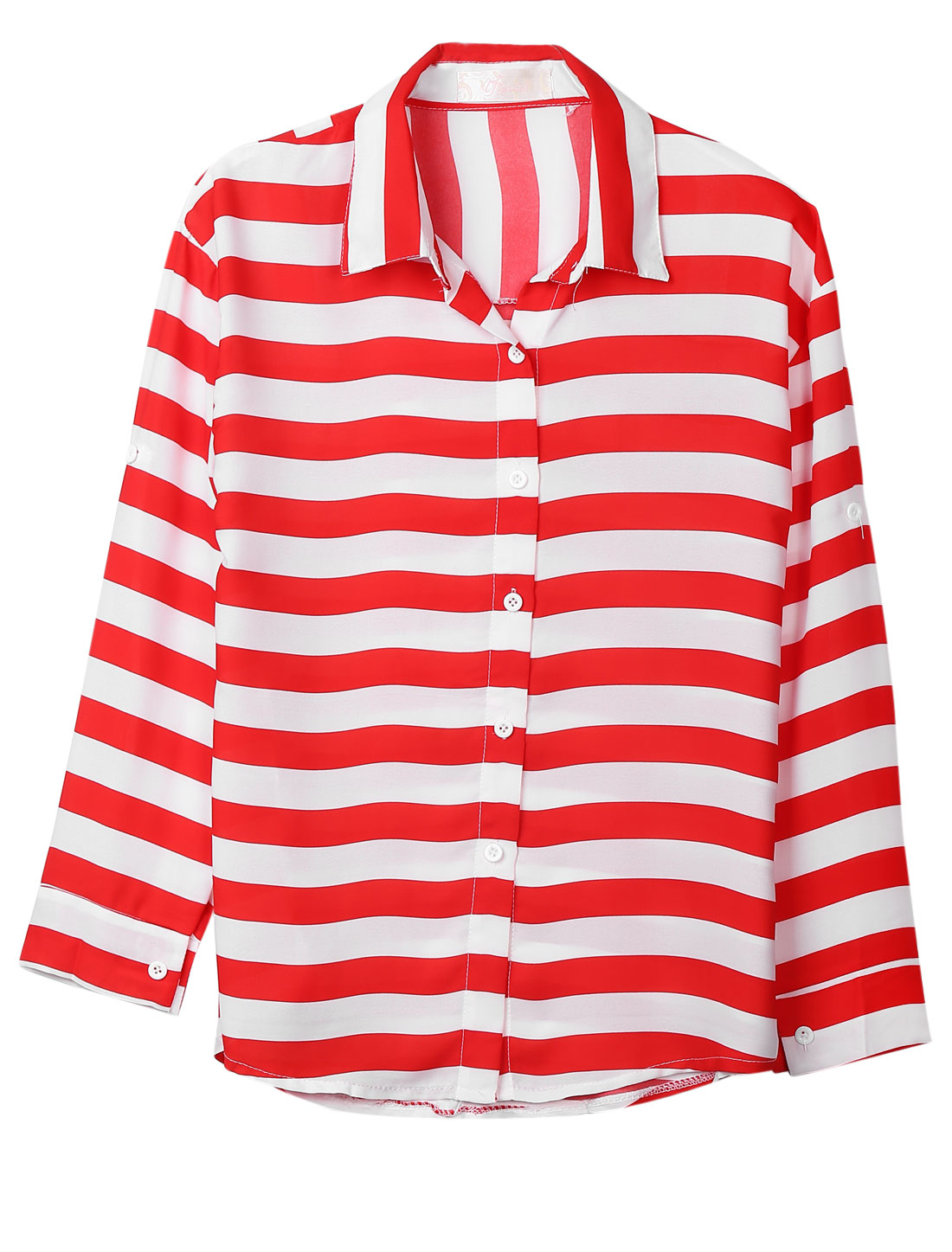 Ladies White Red Stripes Roll Up Cuffs Button Down Leisure Blouse S
