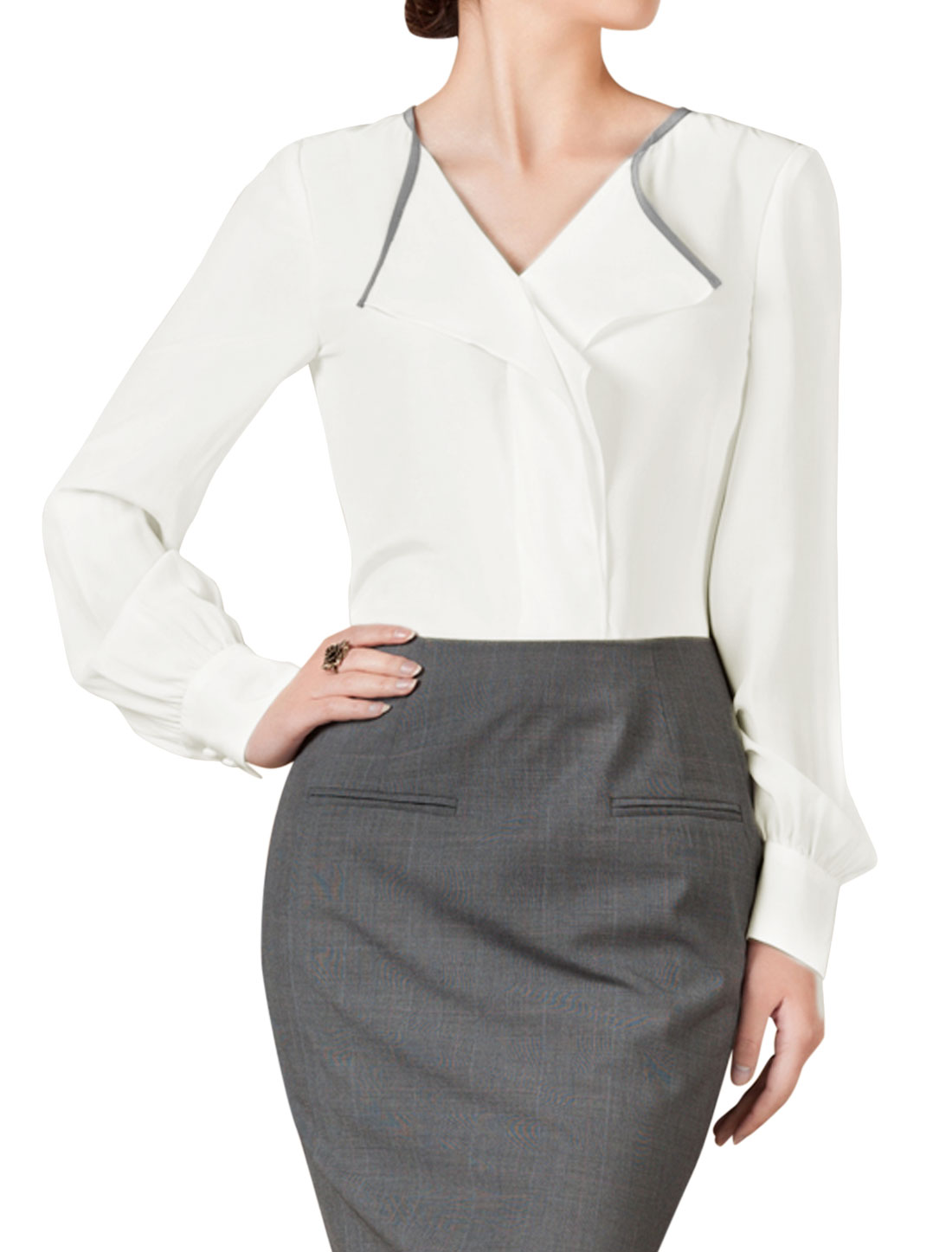 Ladies White Pullover Panel Embellished Button Cuffs Slim Fit Blouse S