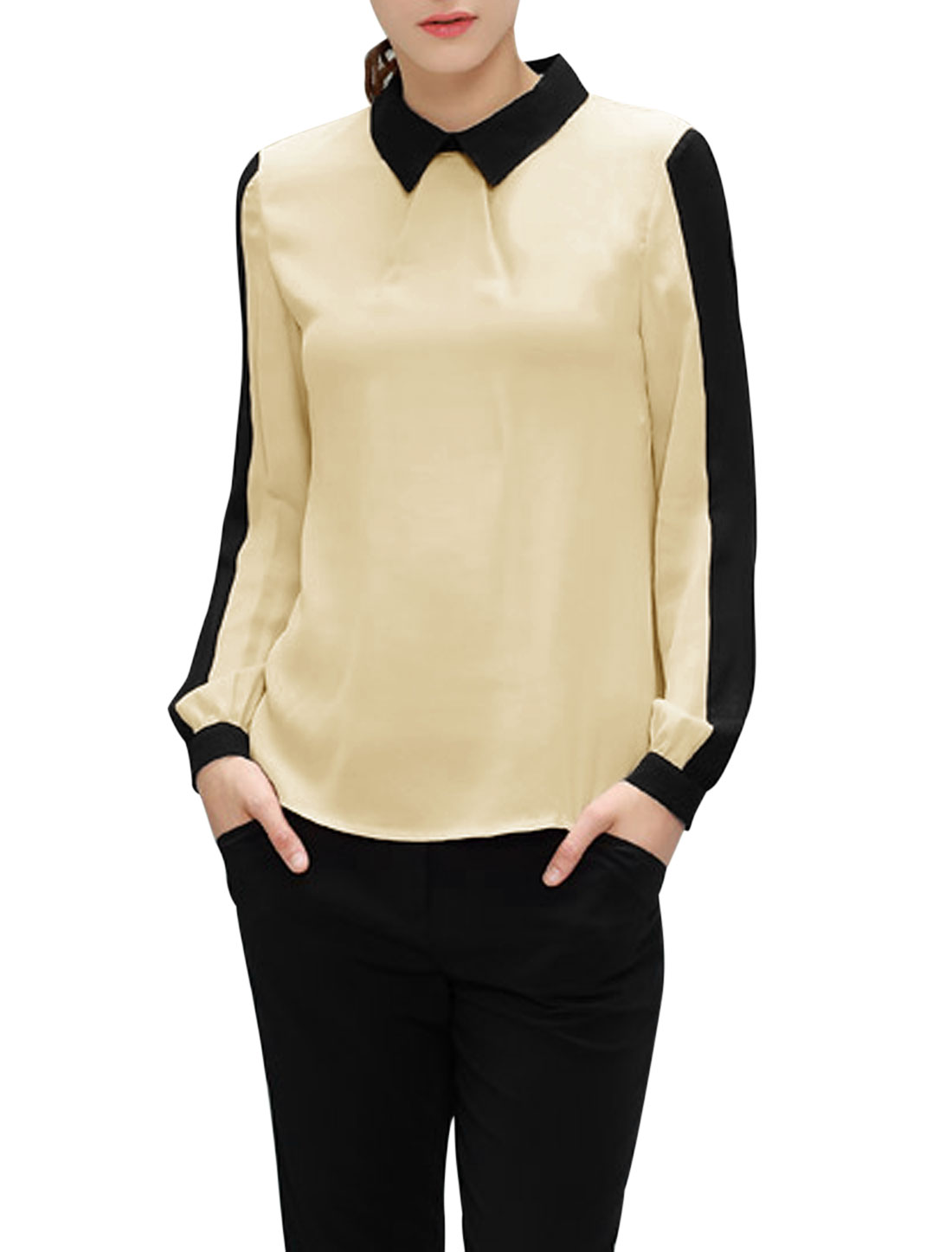 Ladies Beige Pullover Color Block Button Cuffs Long Sleeves Blouse M