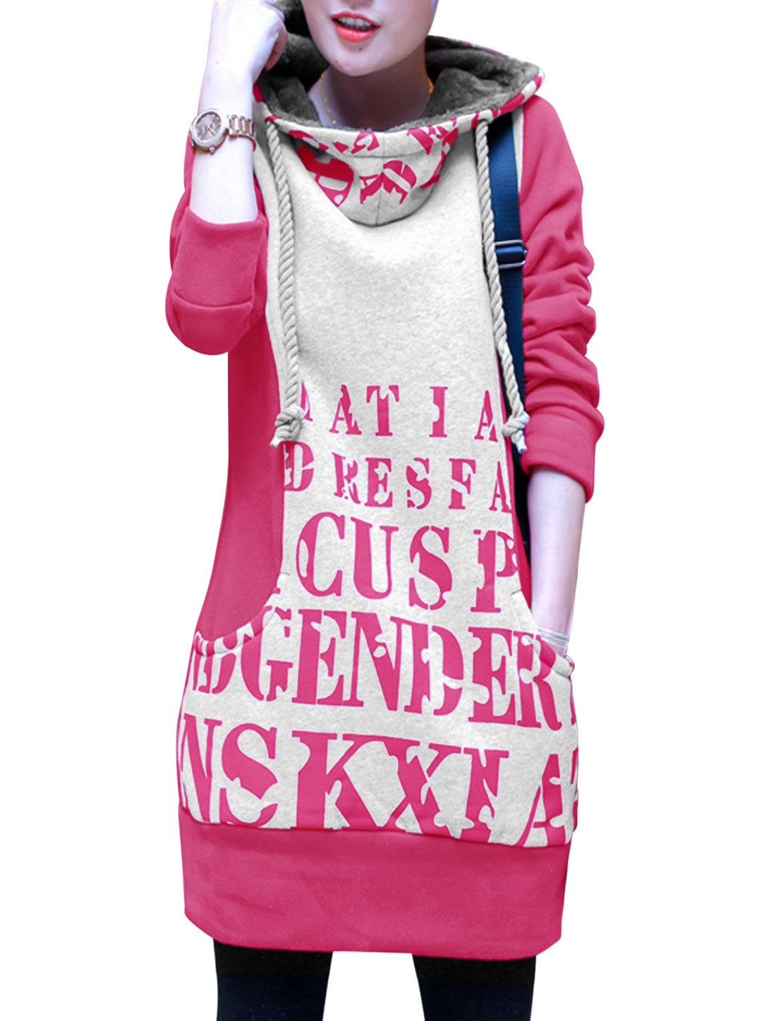 Lady Fuchsia Gray Contrast Color Letters Prints Drawstring Tunic Hooded Sweatshirt XS