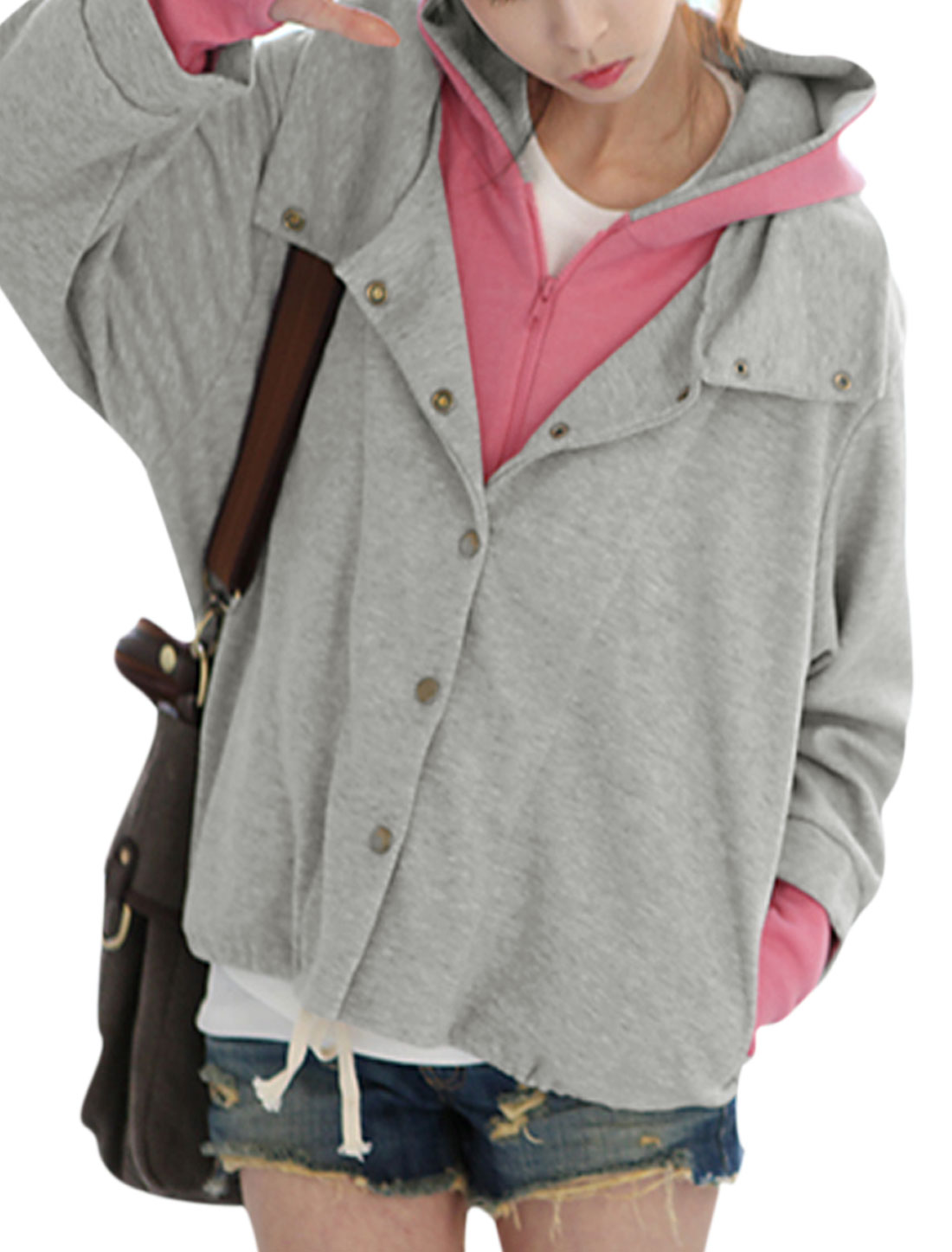 Lady Layered Design Long Sleeves Two Pockets Hooded Jacket Light Gray Pink XS