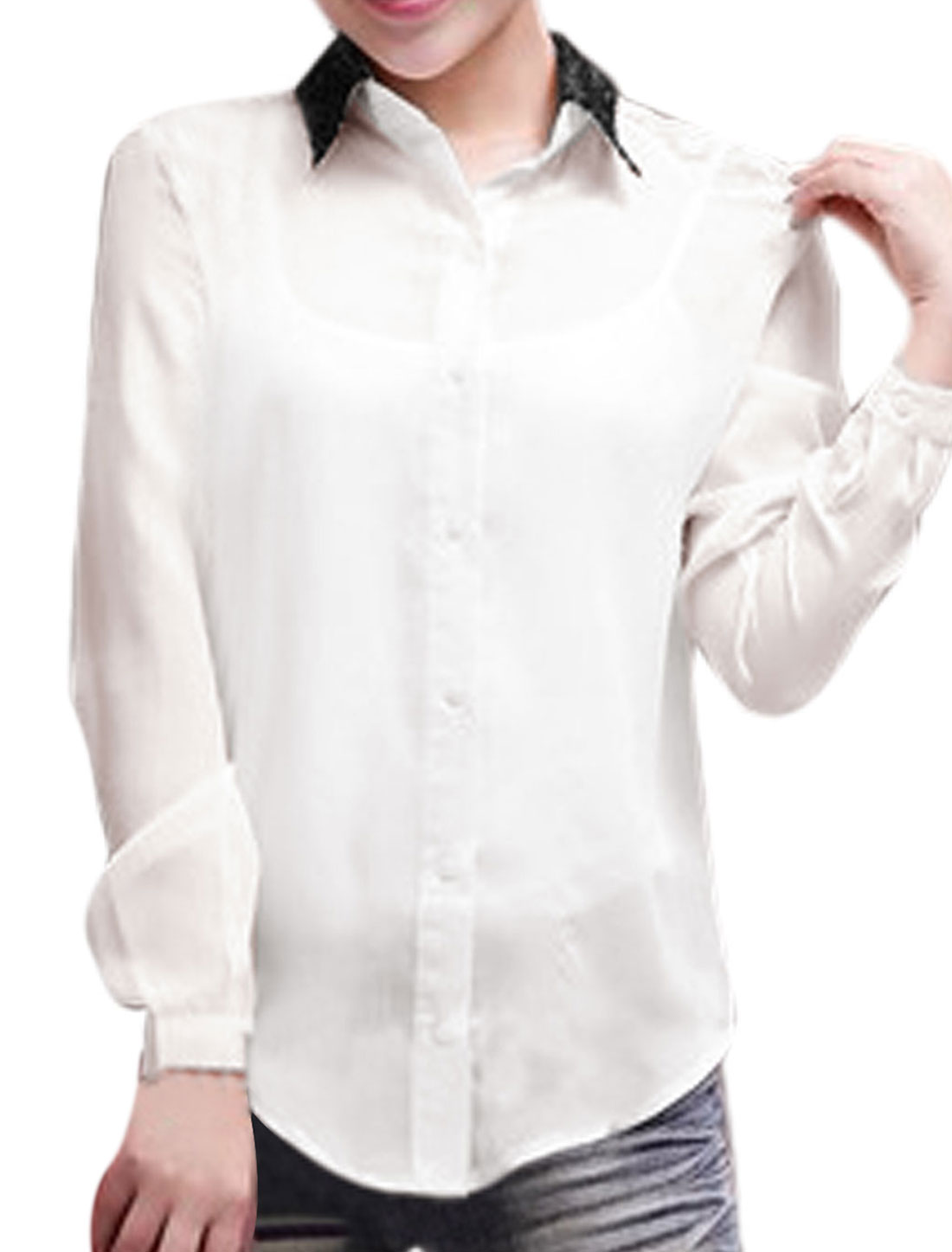 Ladies White Single Breasted Lace Splice Button Cuffs Leisure Blouse XS