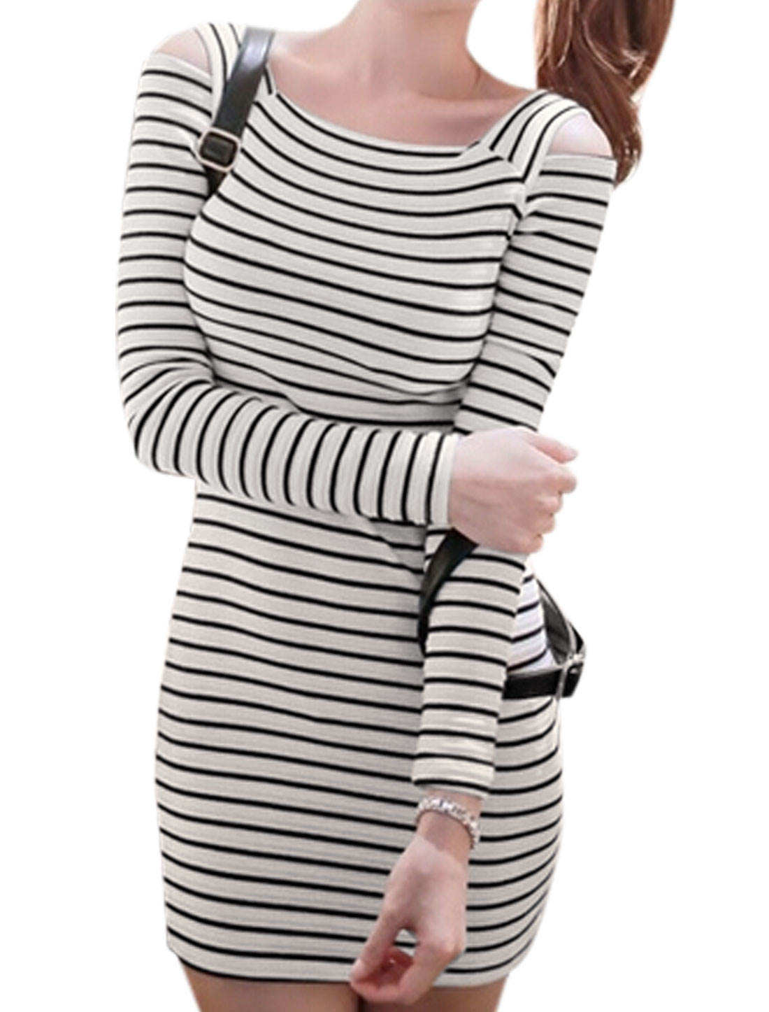 Ladies Black Beige Pullover Stripes Cut Out Shoulder Slim Fit Dress XS