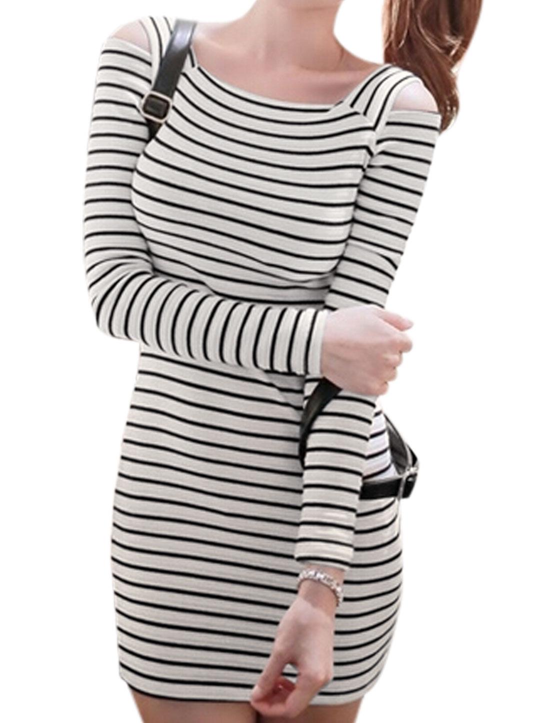 Ladies Black Beige Pullover Stripes Cut Out Shoulder Slim Fit Dress XS
