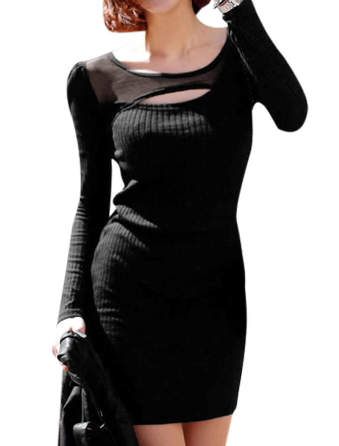 Ladies Black Pullover Mesh Splice Cut Out Front Slim Fit Leisure Knitted Dress XS