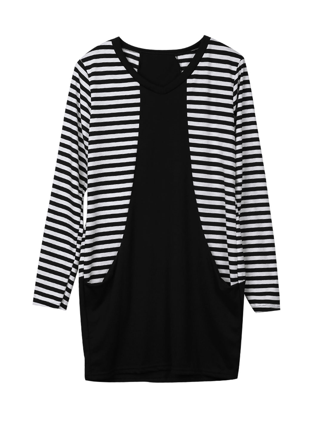 Lady Black White Pullover Stripes Front Pockets Splice Unlined Dress XS