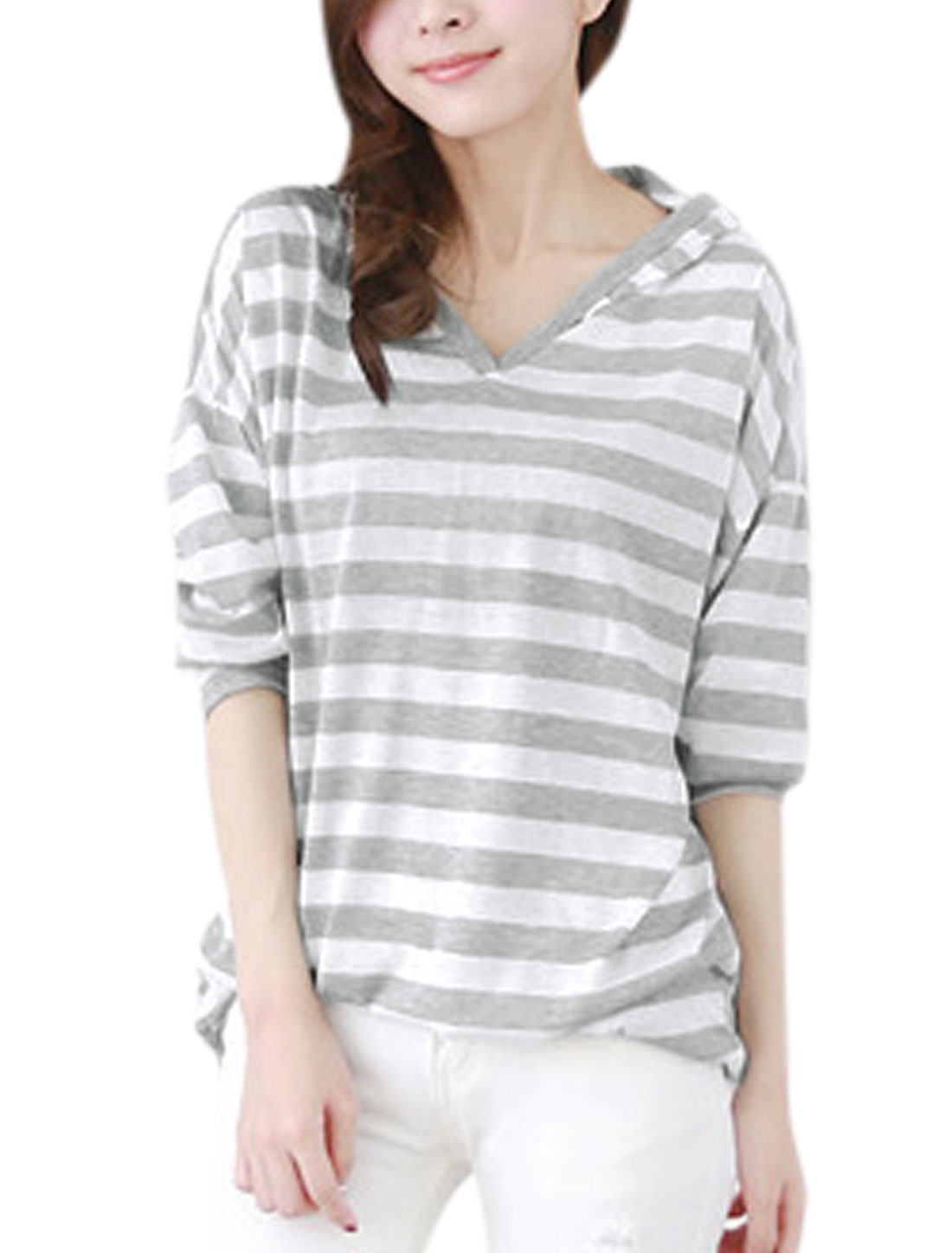 Ladies White Light Gray Slipover Stripes Bat Sleeves Loose Casual Hooded Top XS