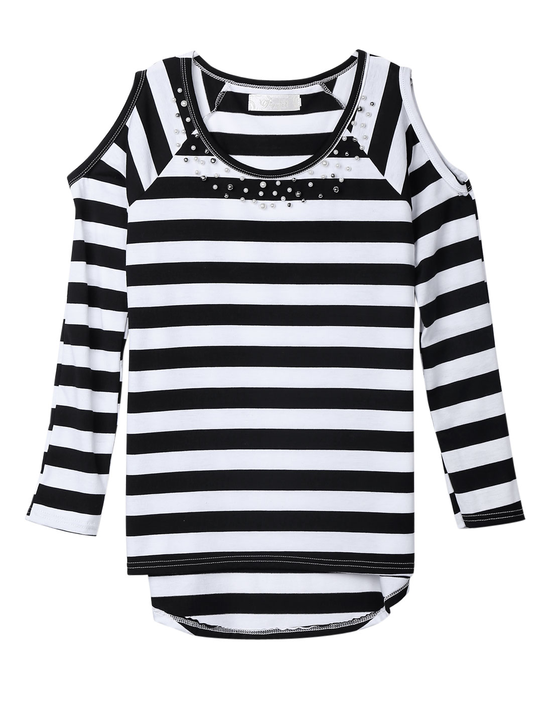 Women Round Neck Stripes Long Sleeves Beaded Neckline Tunic Top Black White XS