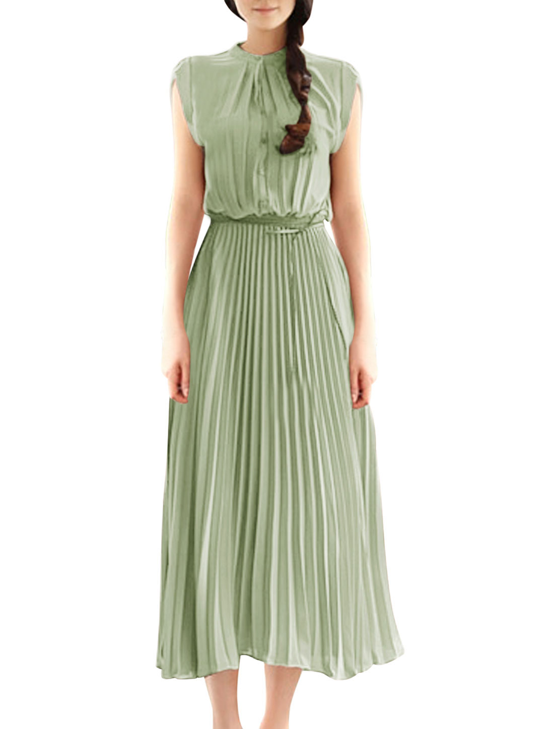 Women Stand Collar Cap Sleeves Unlined Pleated Dress Light Green S