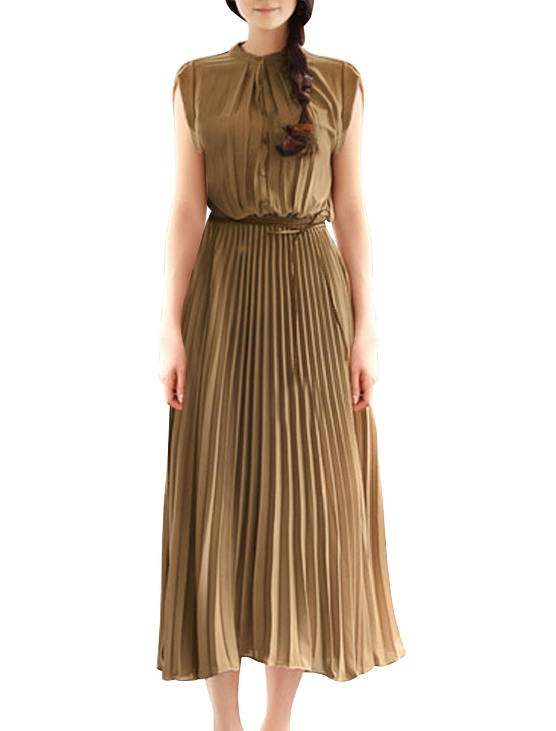 Ladies Button Closed Front Elastic Waist Brown Pleated Dress S