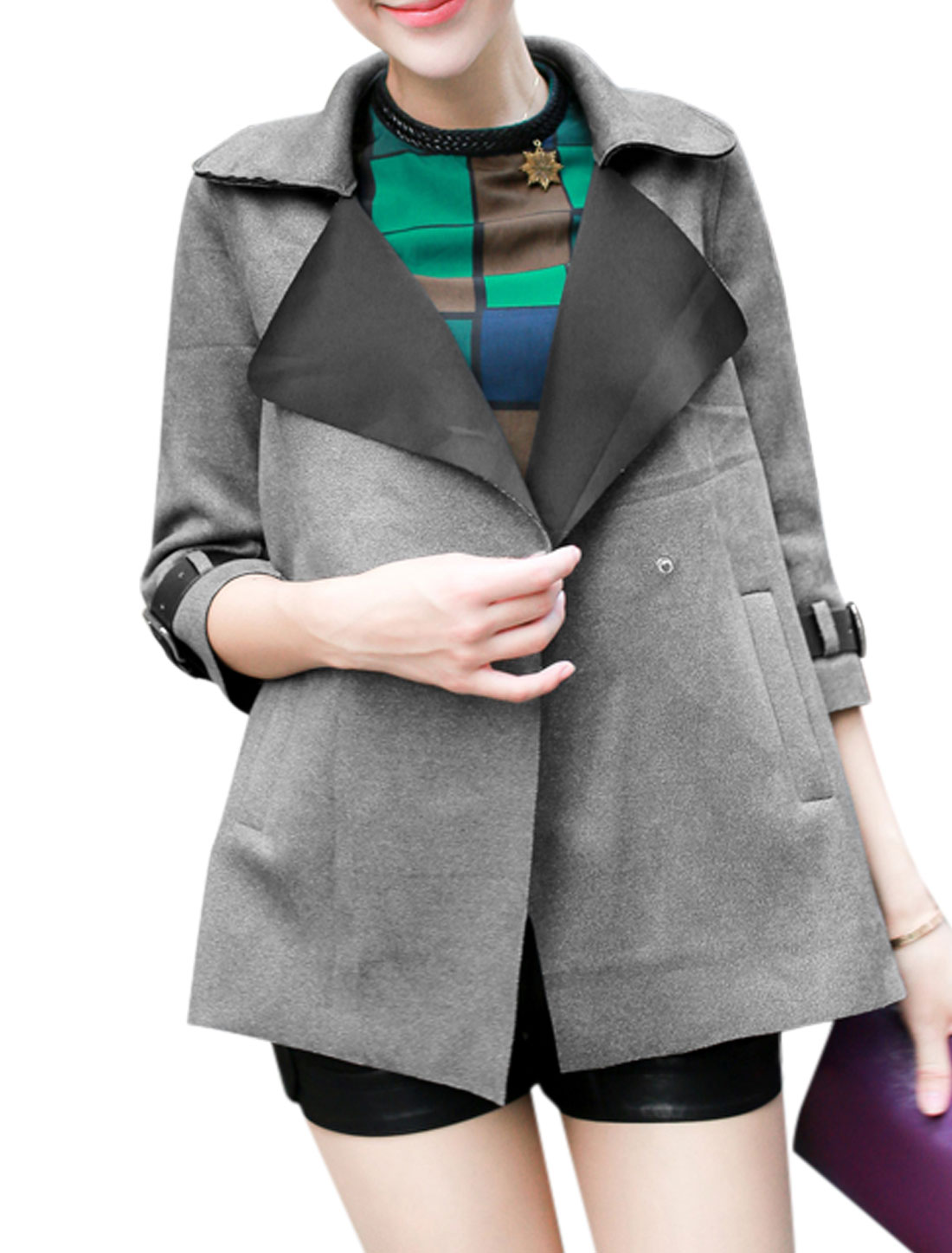 Women 3/4 Sleeves Buckle-tab Cuffs Double Breasted Stylish Jacket Light Gray XS