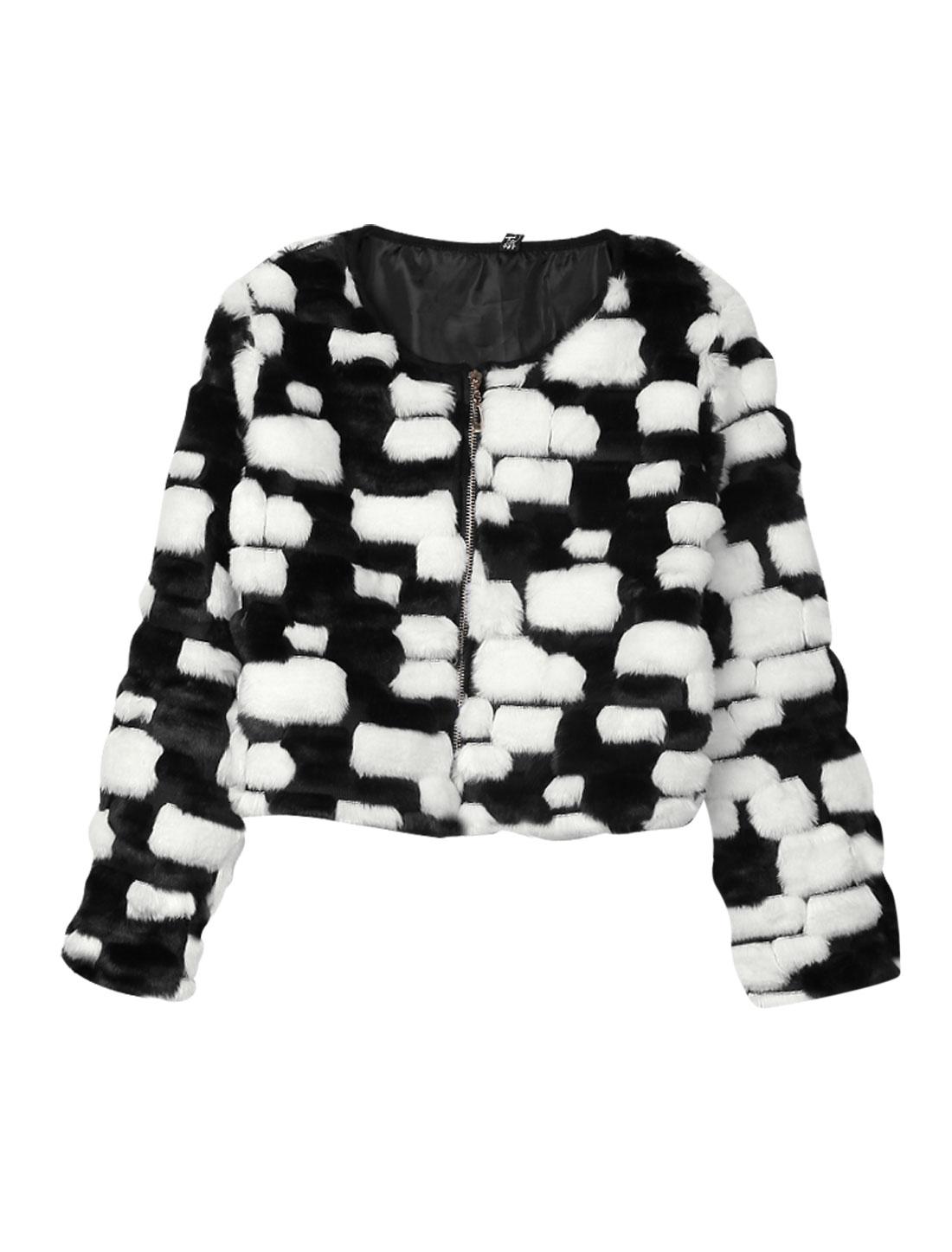 Women Round Neck Zip Closure Contrast Color Leisure Plush Jacket Black White S