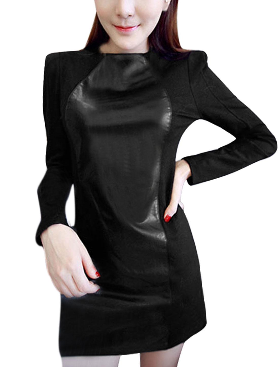 Ladies Imitation Leather Panel Long Sleeves Black Sheath Dress XS