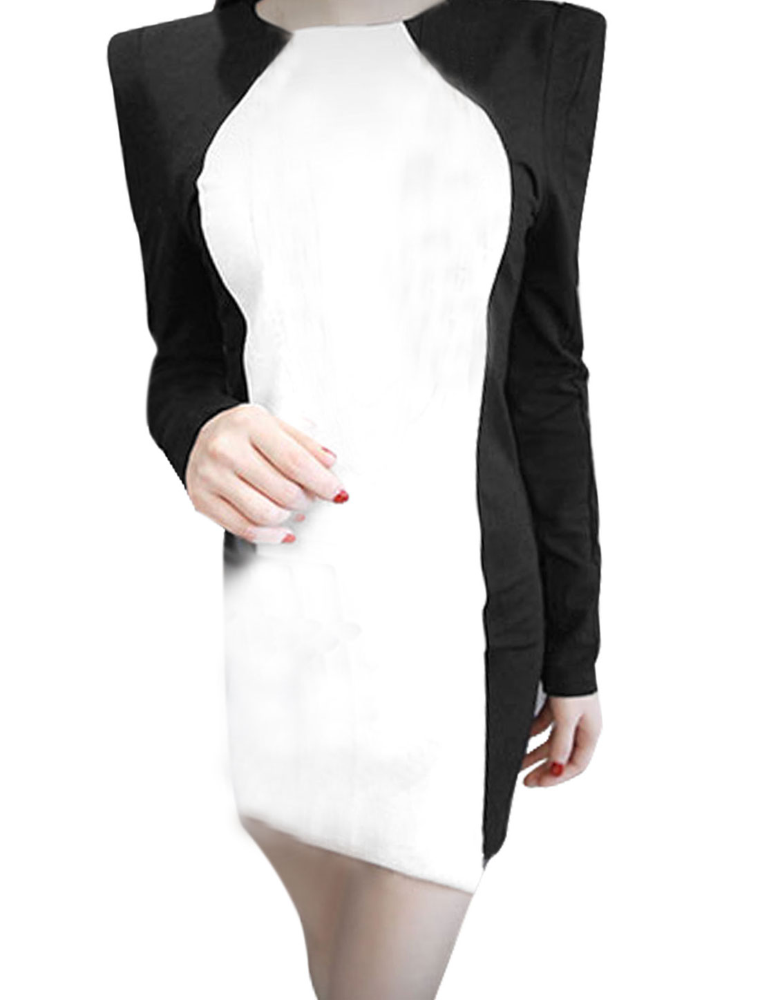 Women Color Block Initation Leather Panel Sheath Dress Black White XS