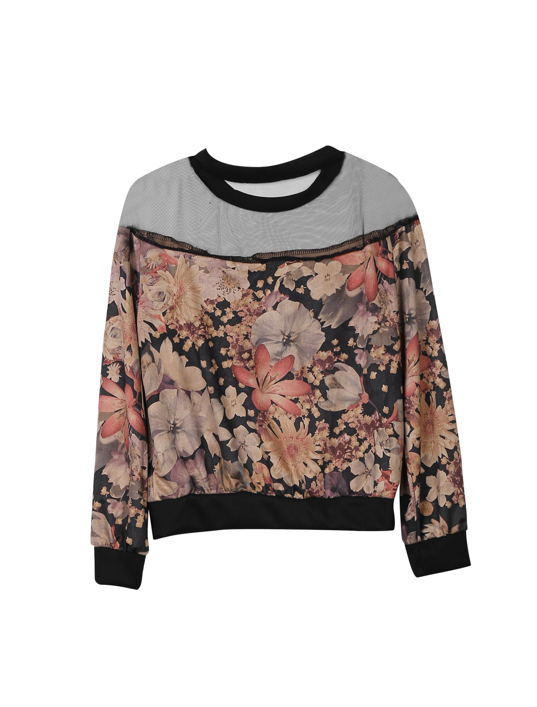 Women Flower Pattern Mesh Splicing Design Casual Top Multicolor XS