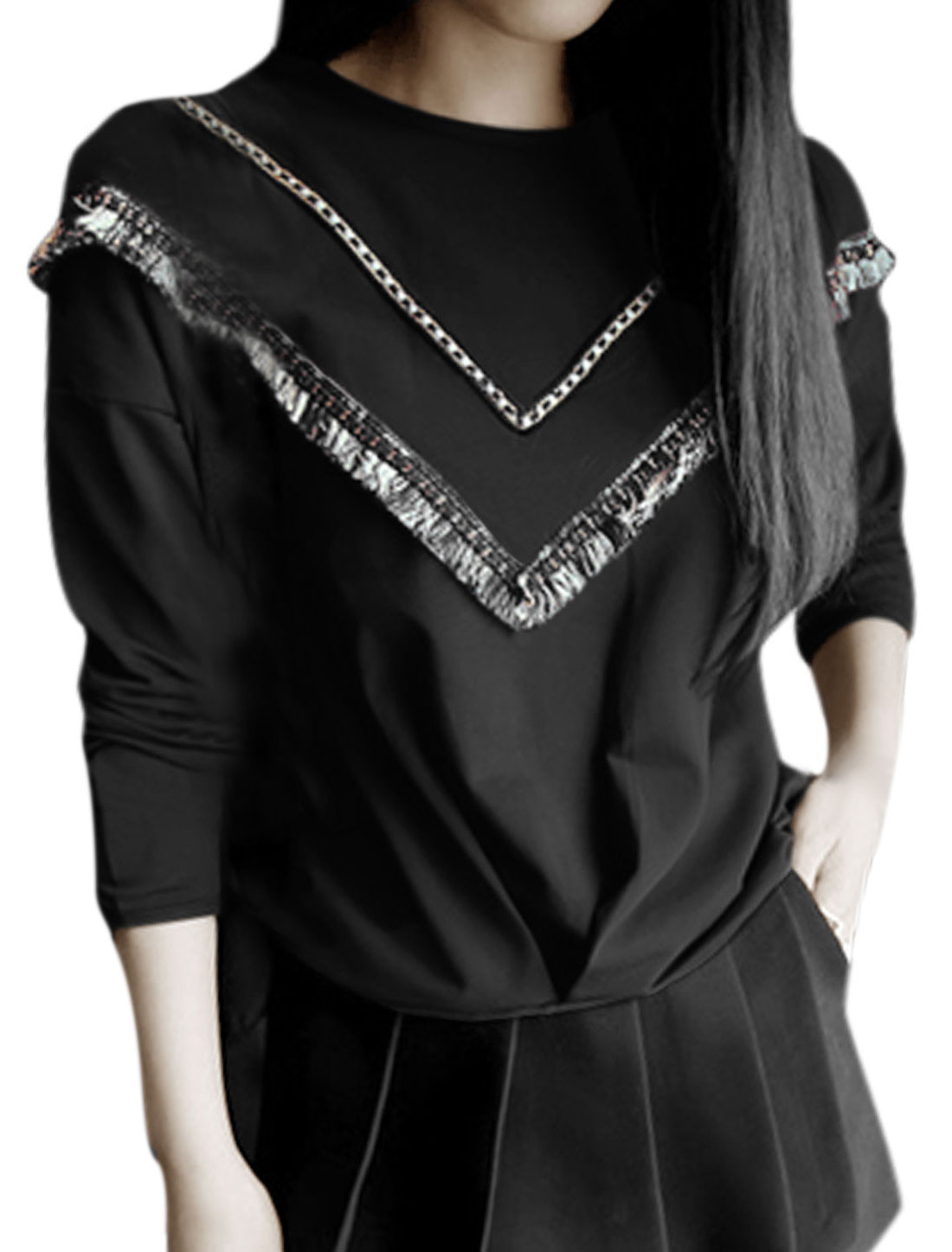 Women Round Neck Long Sleeve Tassels Decor Casual Top Black XS