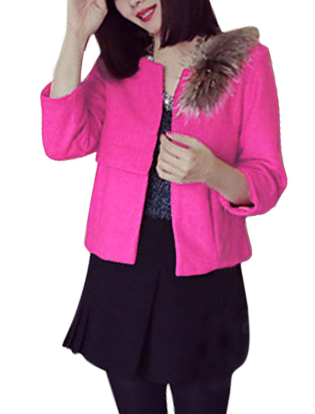 Women Hook Eye Closed Belero Worsted Coat w Removable Plush Fuchsia XS