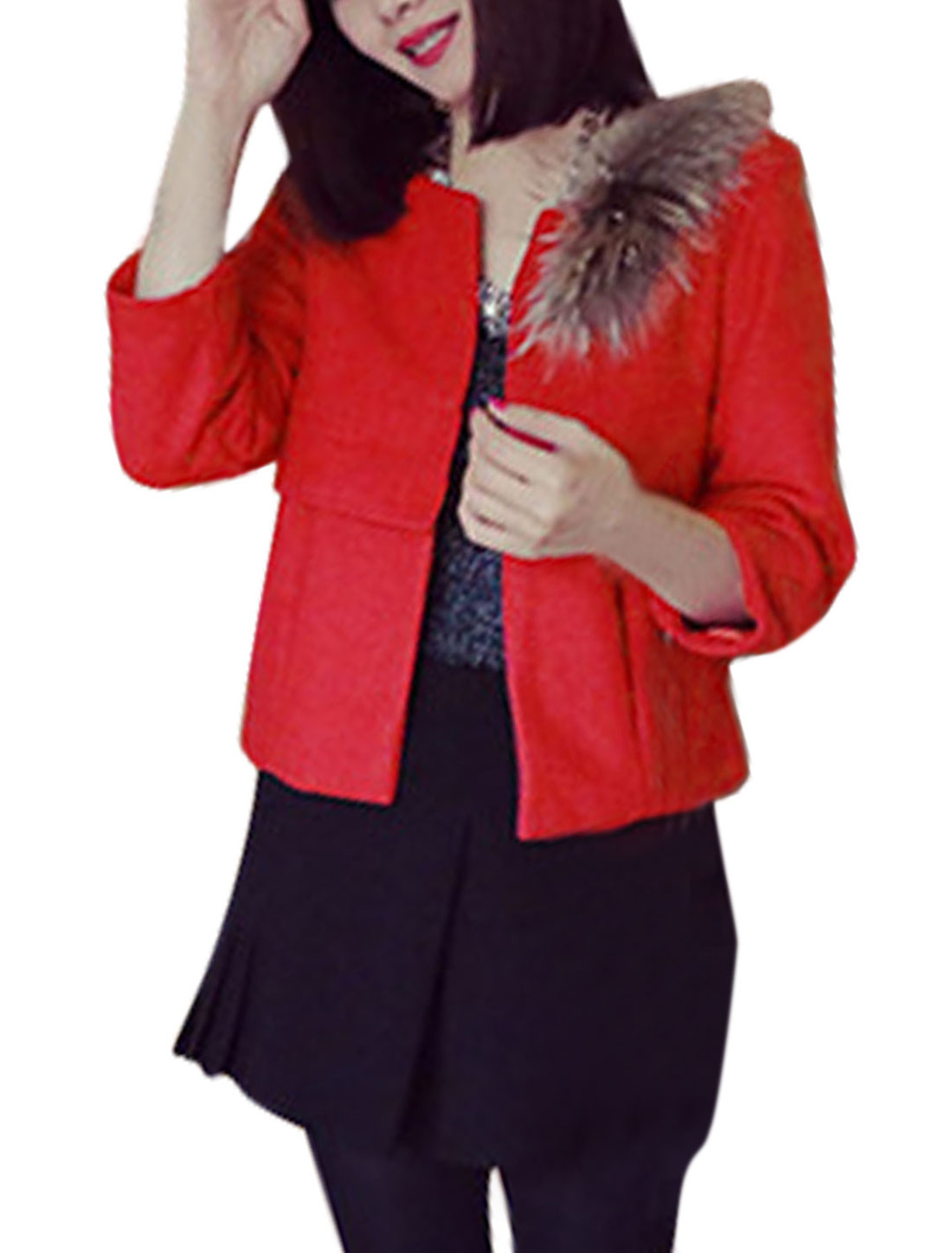 Ladies 3/4 Sleeves Plush Decor Red Belero Worsted Coat XS