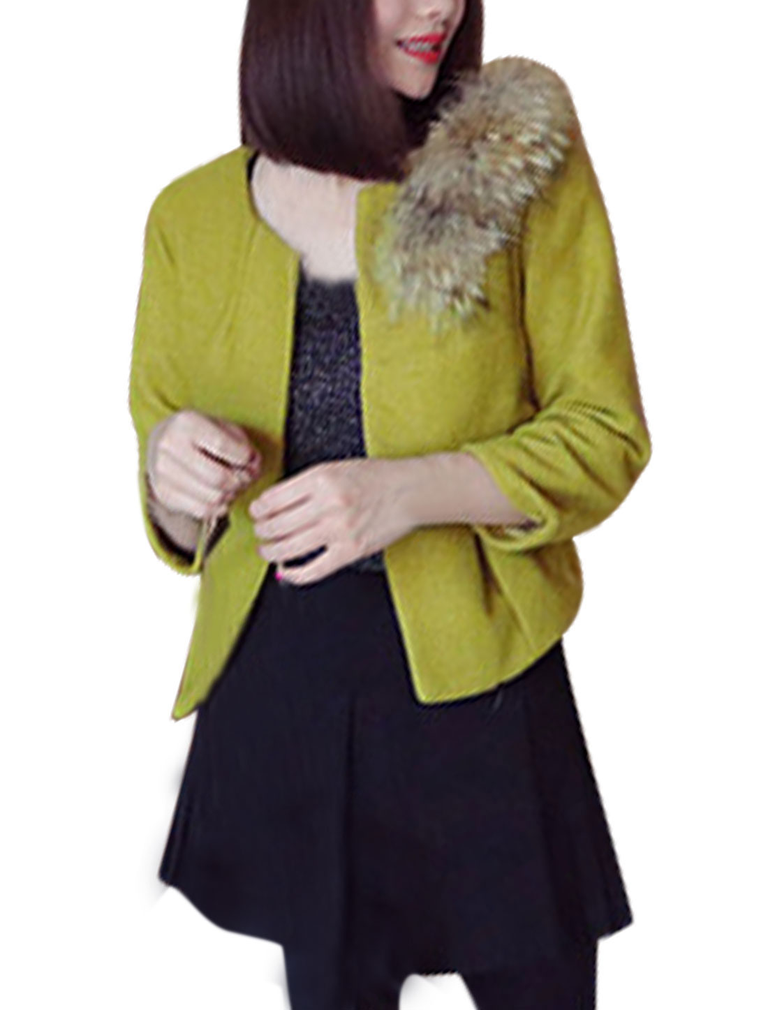 Round Neck w Removable Plush Olive Belero Worsted Coat for Lady XS