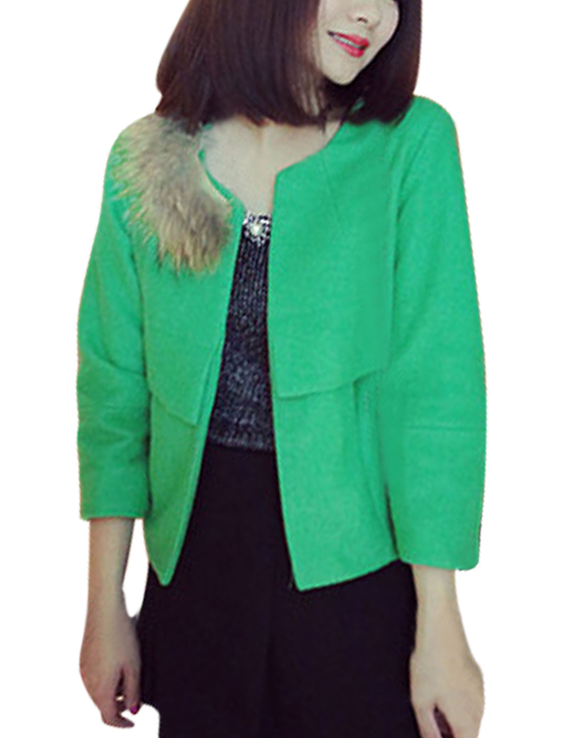 Hook Eye Closure Round Neck Green Belero Worsted Coat for Woman XS