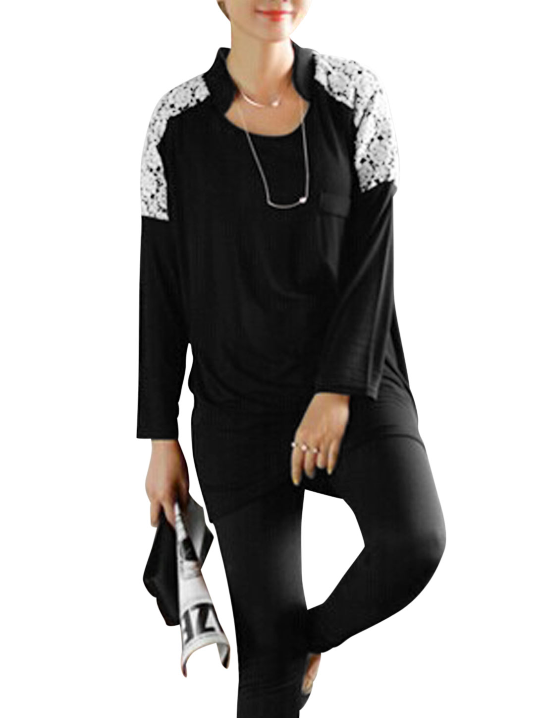 Ladies Black Pullover Lace Splice Mock Pocket Decor Batwing Sleeves Top S