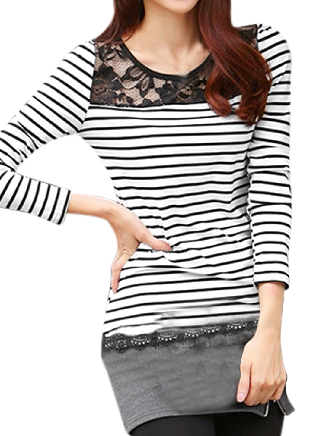Women Stripes Lace Panel Long Sleeve Casual Shirt White XS