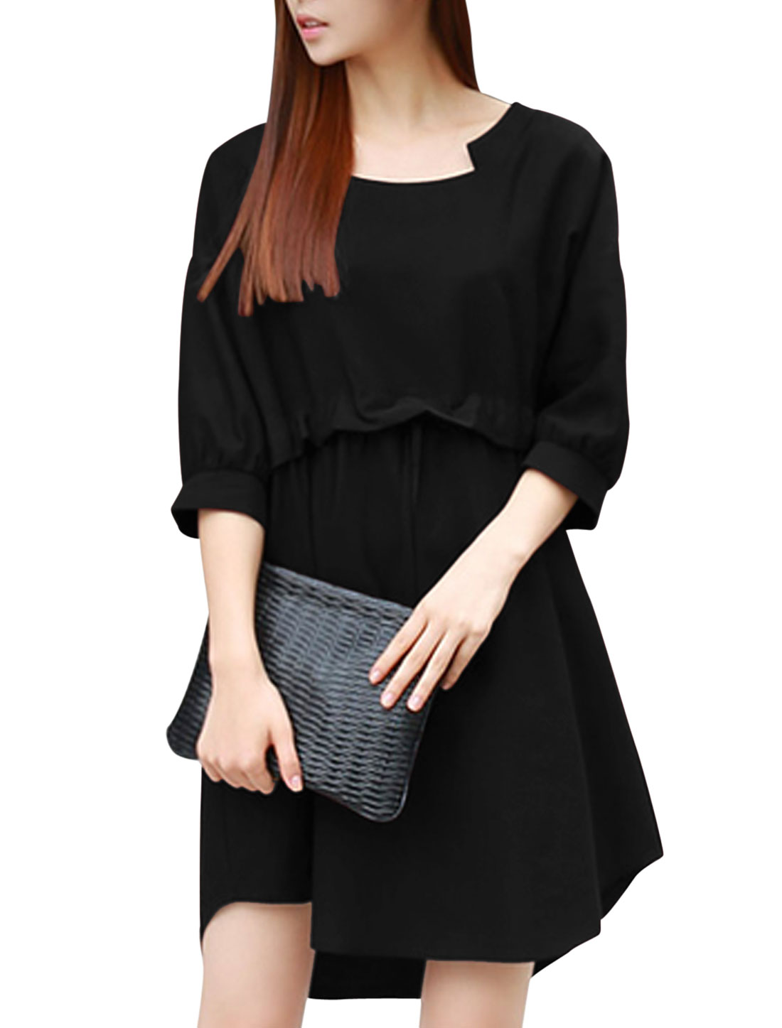 Ladiees Black Pullover Drawstring Waist Batwing Sleeves Loose Dress S