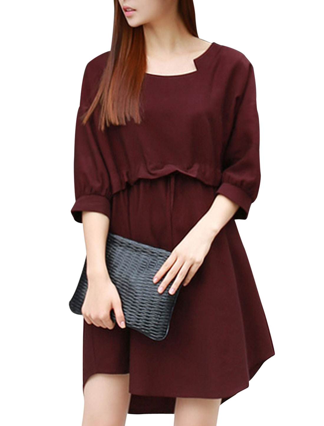 Ladiees Burgundy Slipover Drawstring Waist Batwing Sleeves Loose Unlined Dress S