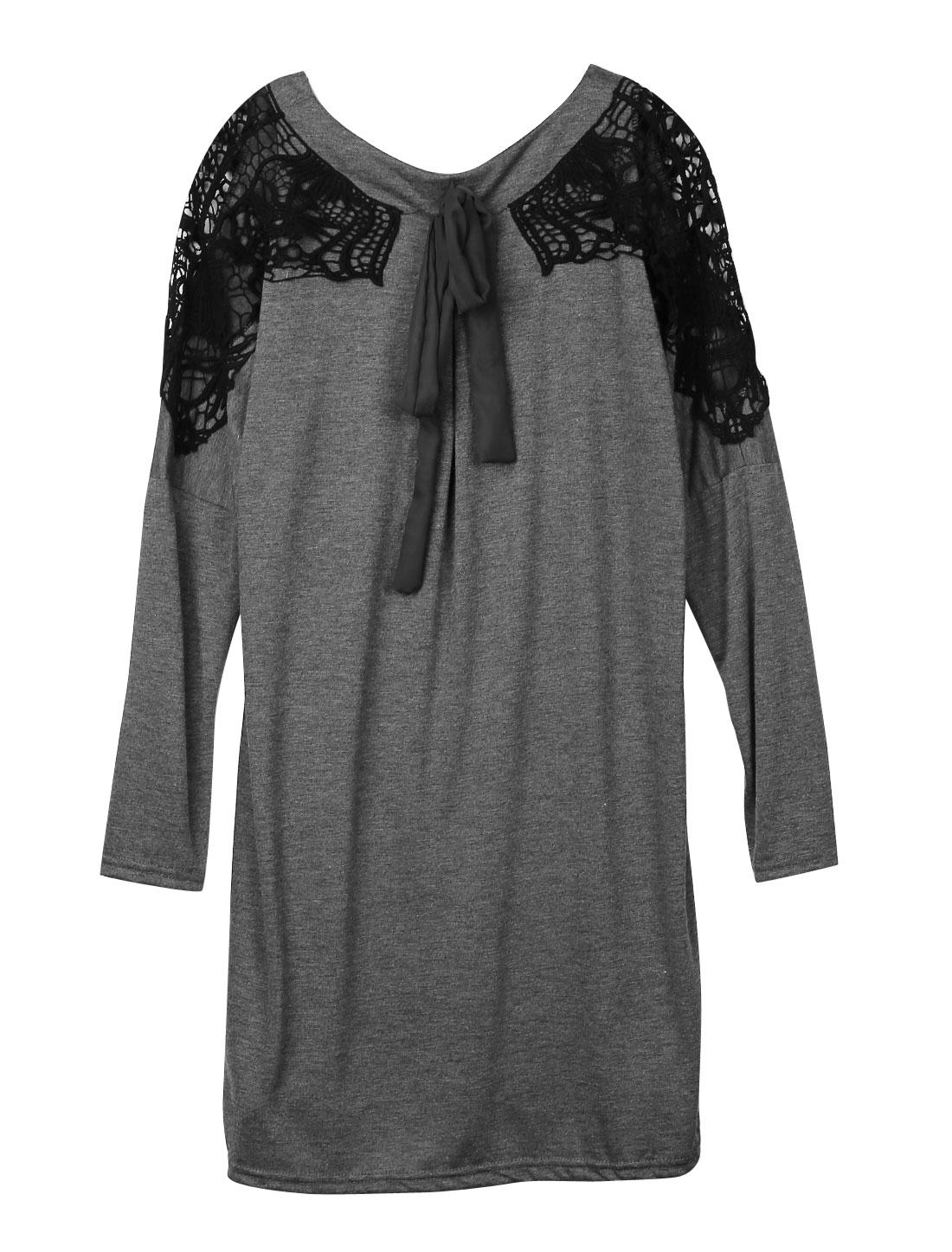 Women Round Neck Batwing Sleeves Panel Pullover Dress Dark Heather Gray S