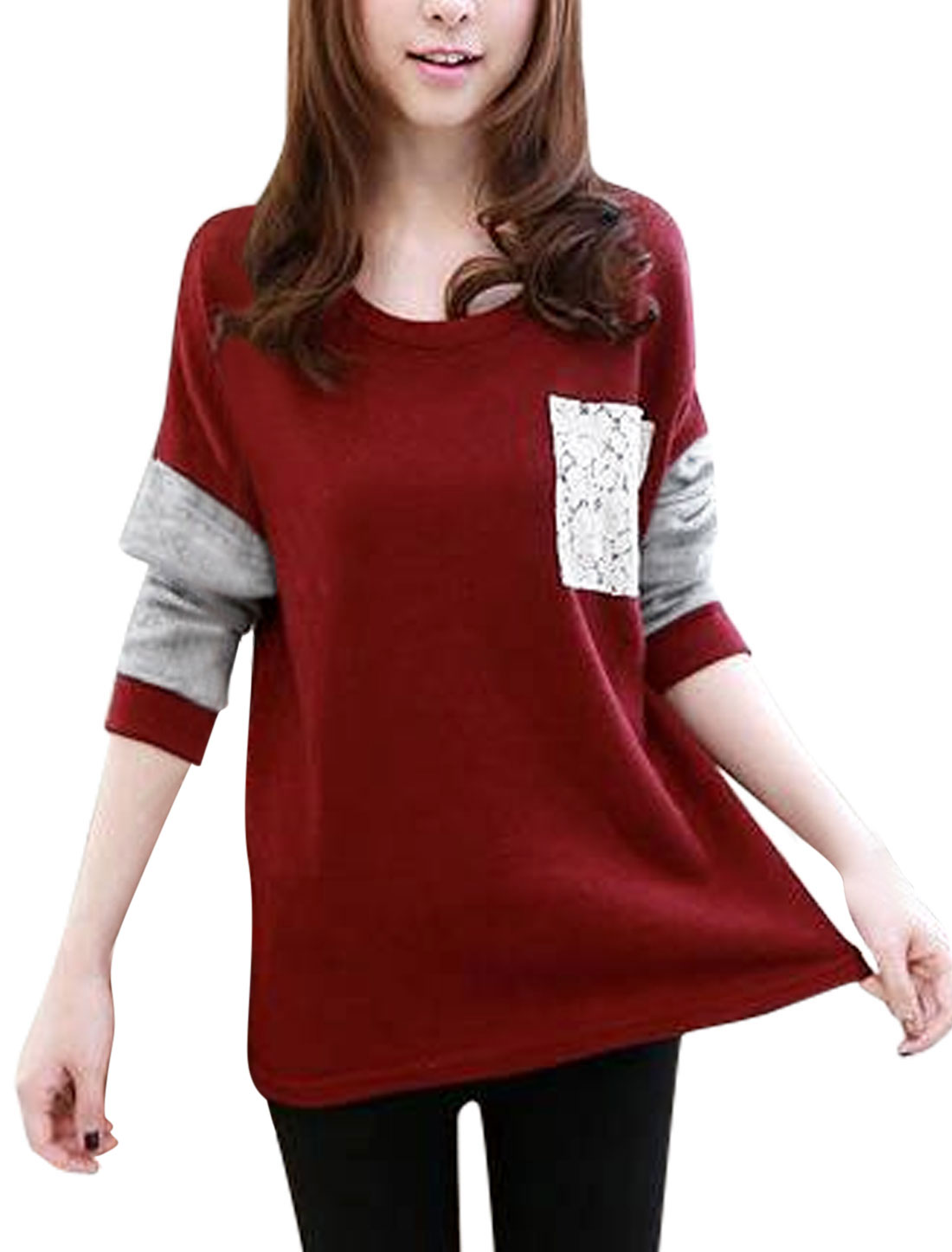 Lady Round Neck Long Sleeves Contrast Color Pullover Knitted Top Burgundy Gray S