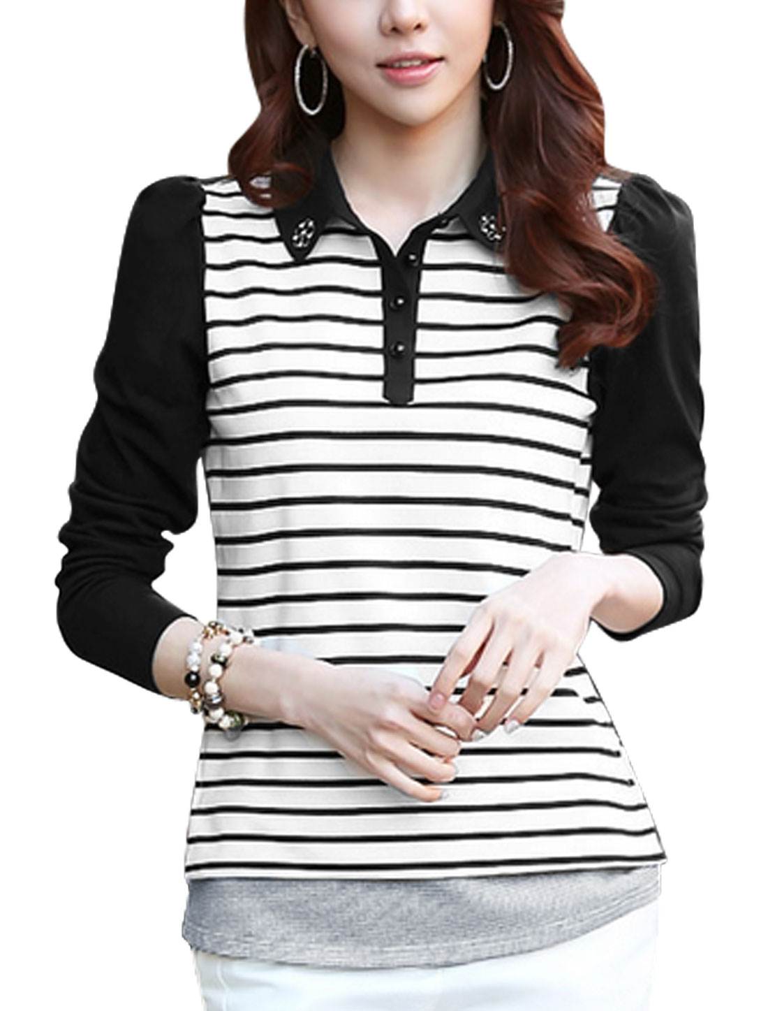 Ladies Black White Pullover Stripes Button Closure Upper Color Block Shirt S