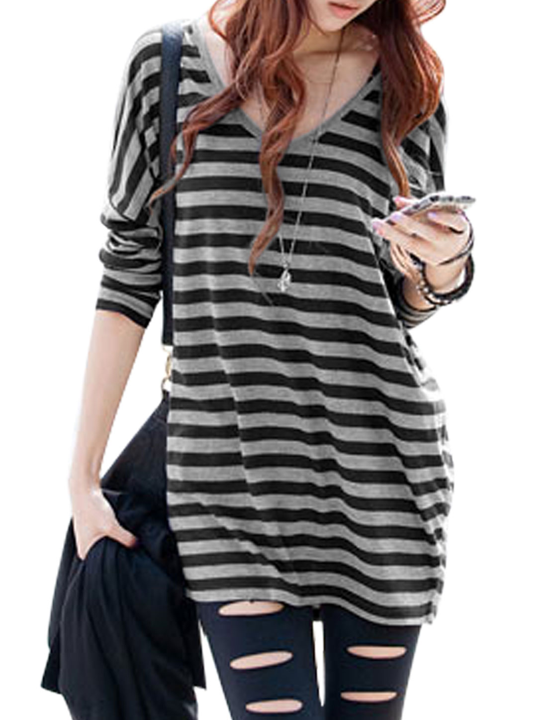 Women Round Neck Batwing Sleeves Horizontal Stripes Tunic Top Black Gray S