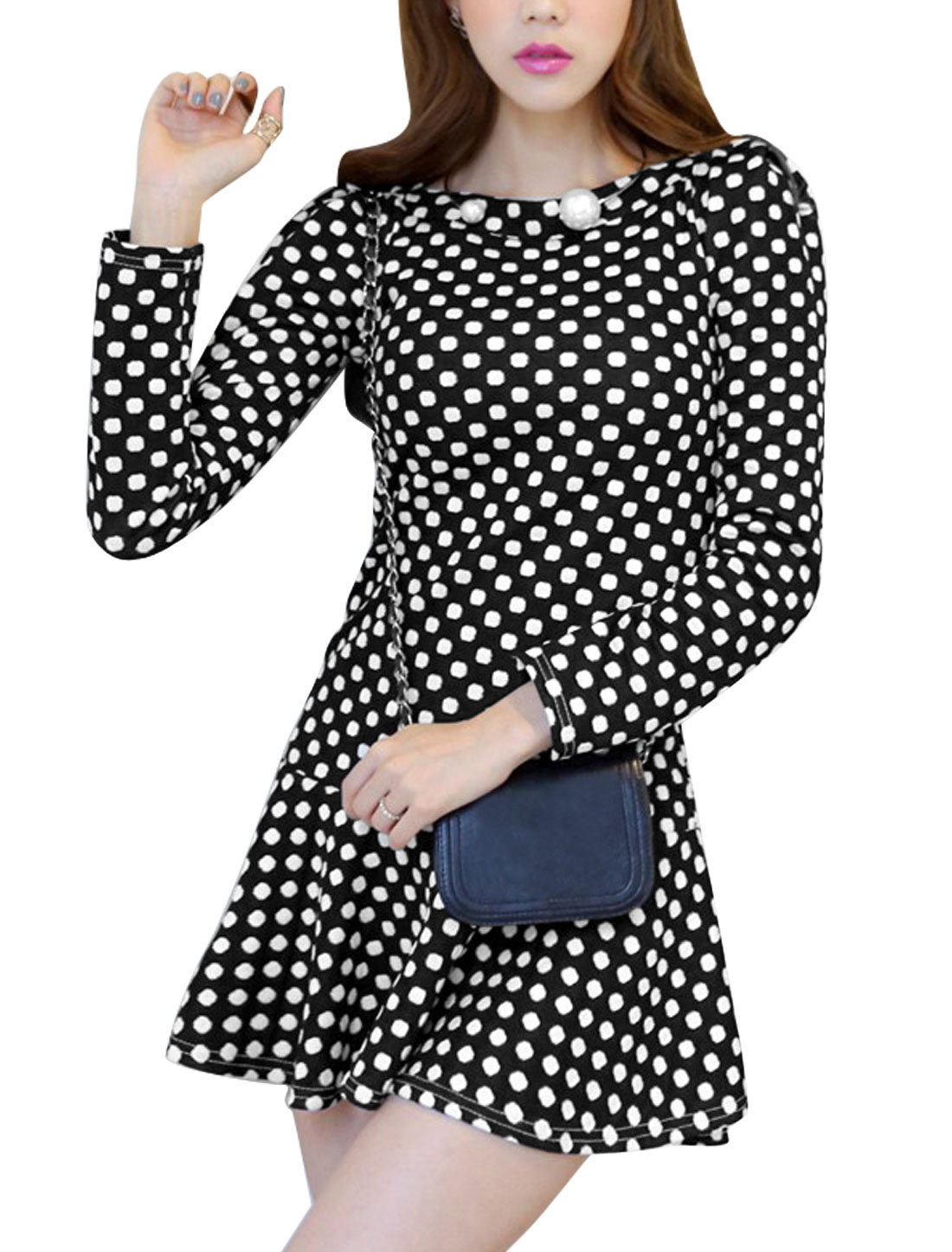 Lady Round Neck Long Sleeves Dots Tunic Dress Black L