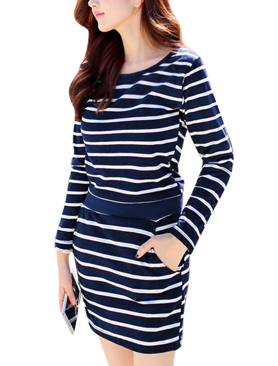 Women Round Neck Horizontal Stripes Long Sleeves Casual Tunic Dress Navy Blue XS