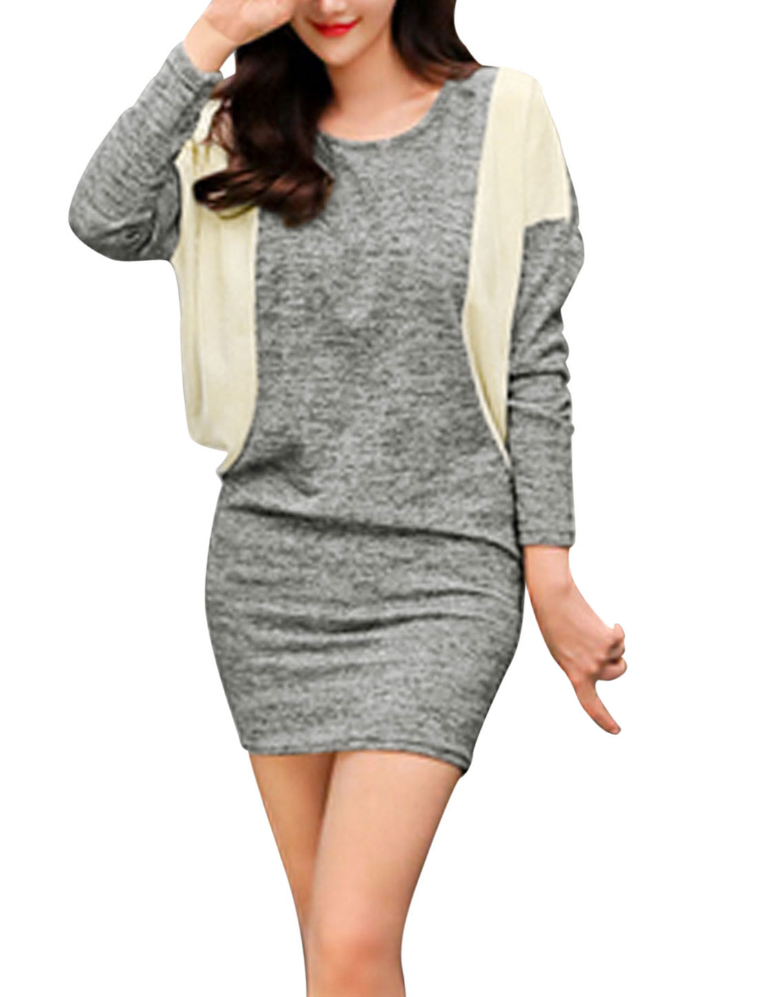 Ladies Light Gray Pullover Color Block Batwing Sleeves Leisure Dress M