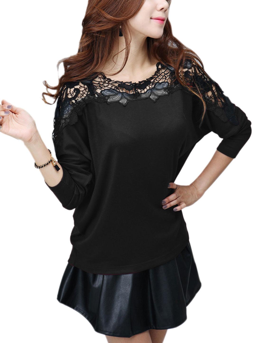 Ladies Black Crochet Long Sleeves Loose Leisure Top S