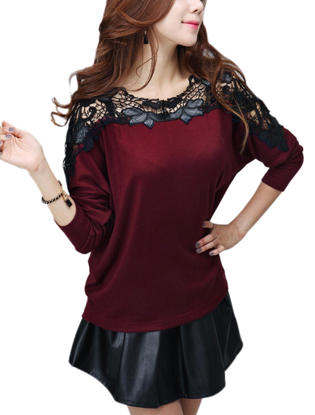 Ladies Burgundy Crochet Slipover Long Sleeves Loose Leisure Top S