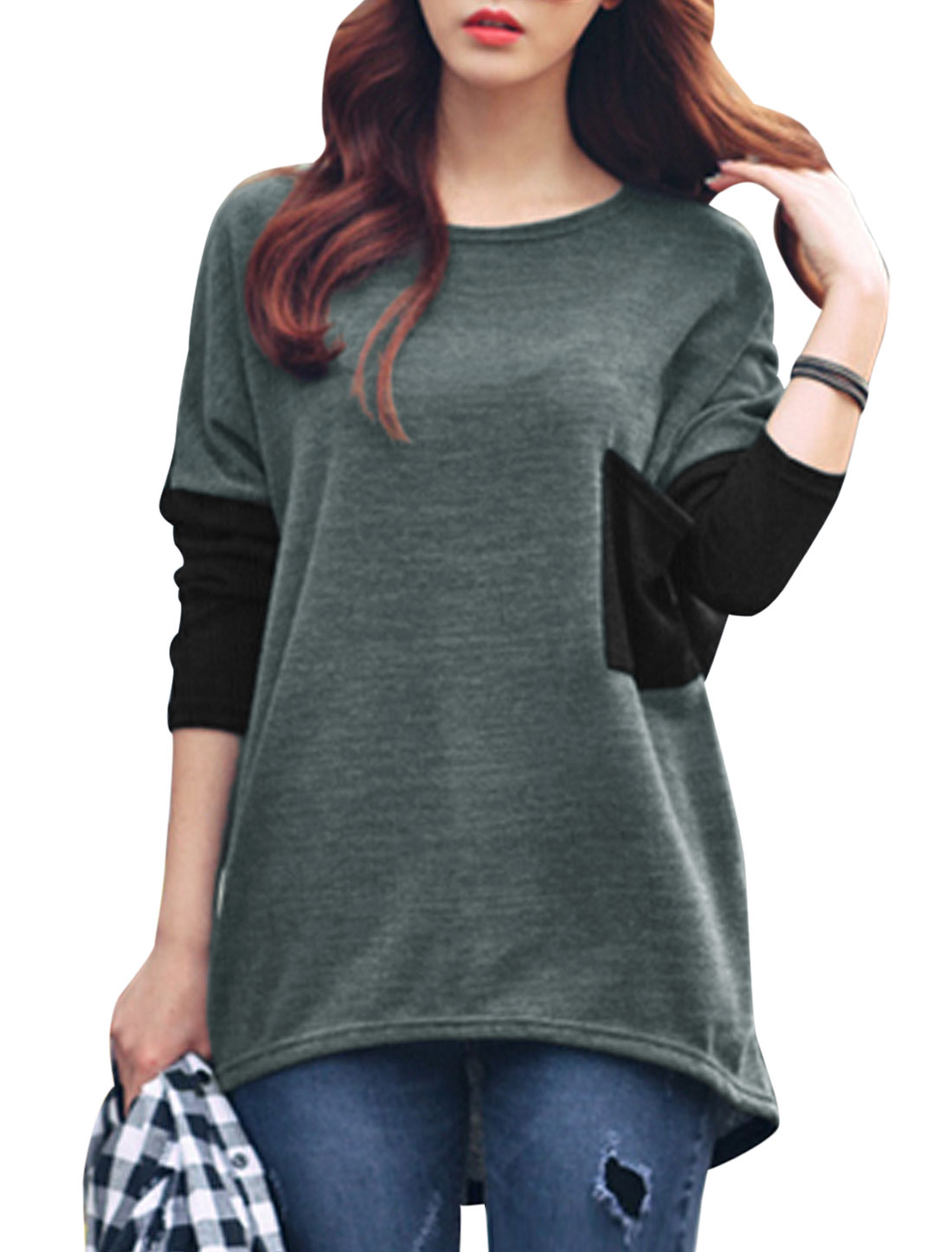 Women Long Batwing Sleeve Color Block Tunic Shirt Dark Gray Black XS