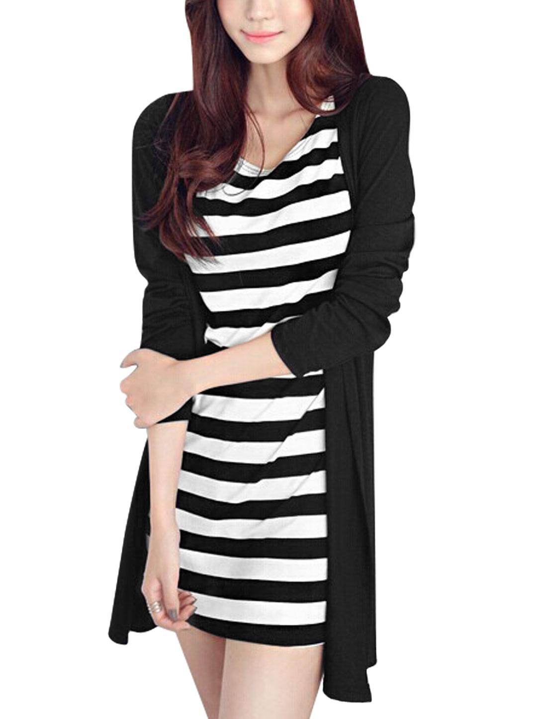 Women Round Neck Long Sleeves Layered Design Casual Dress Black XS