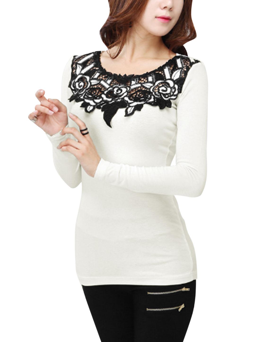 Ladies White Slipover Flower Design Splicing Slim Fit Leisure Top S